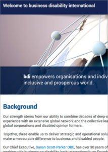 Business Disability International website